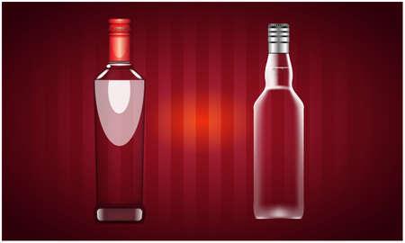 mock up illustration of vodka bottle on abstract background