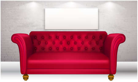 mock up illustration of red luxury couch in a room