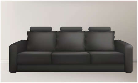 mock up illustration of black corporate couch abstract background