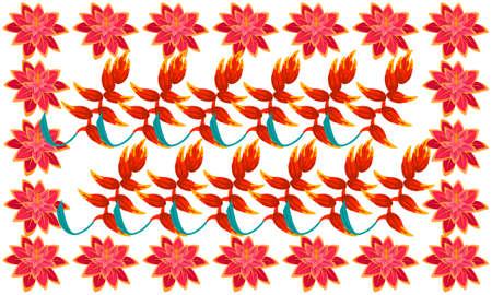 digital textile design of different flowers Ilustrace