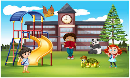 kids are playing with domestic animals in the garden Stockfoto