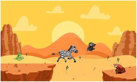 zebra, snake, monkey playing in desert in summer Stock Illustratie