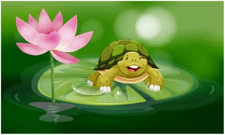 tortoise floating on lotus leaf in the pond Иллюстрация