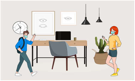 boy and girl are meeting at home Illustration