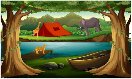 animals are living near the river in the forest Иллюстрация