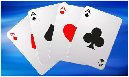 Collection of four aces on abstract background