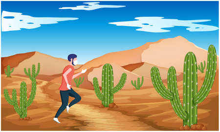 man is running in the desert in morning  イラスト・ベクター素材