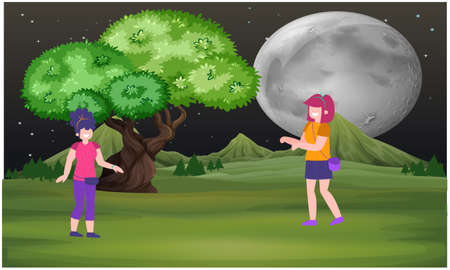 couple walking in a garden at night Illustration