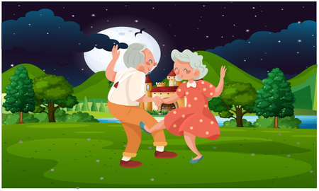 old couple dancing in the park at night