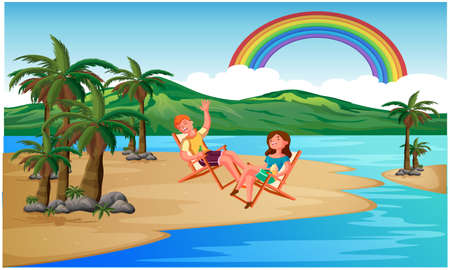two friends are enjoying at the beach