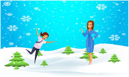 mother and her daughter playing in the snow Illustration