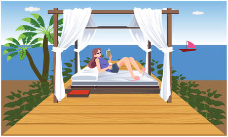 girl is relaxing and reading book on the beach Ilustração