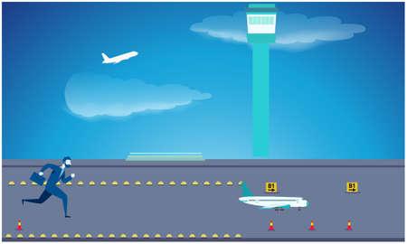 man is running behind the flights on the runway