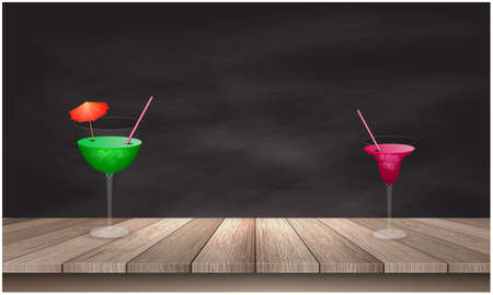 different mocktail glasses on wooden tables Ilustrace