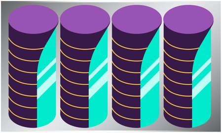 digital textile design of various coins on abstract background