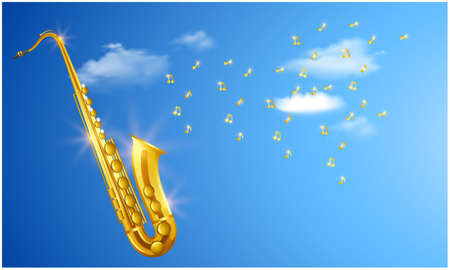 mock up illustration of trumpet with music on clouds