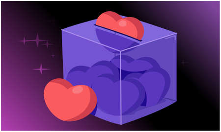 heart collecting in a glass box on abstract backgrounds