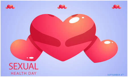world sexual health day with hearts on abstract backgrounds