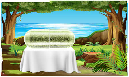 herb capsule is placed on a table in the gardens Stock Photo