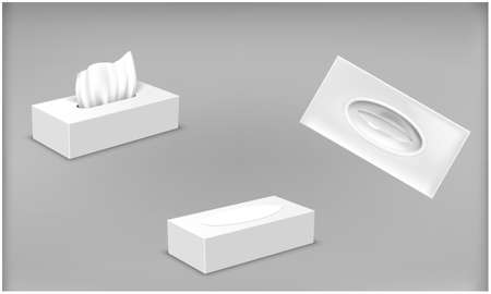 open and closed tissue box process on light backgrounds