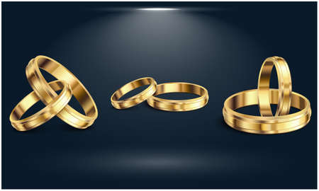 Couple Gold rings on the abstract dark background Illustration