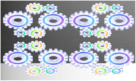 nice gears are on abstract grey background