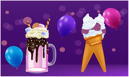Mock up illustration of monster shake and ice cream on abstract backgrounds