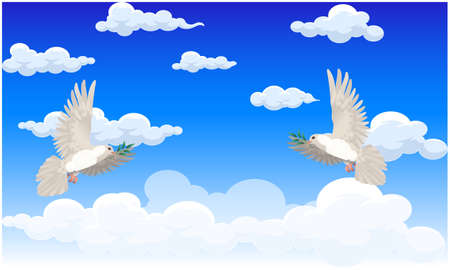 dove birds is flying in the sky on peace day