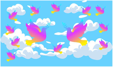 colorful birds are flying in the sky