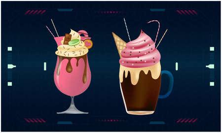 mock up illustration of ice cream on digital backgrounds