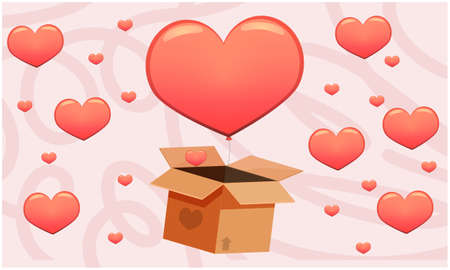 hearts are coming out of the boxes on abstract background