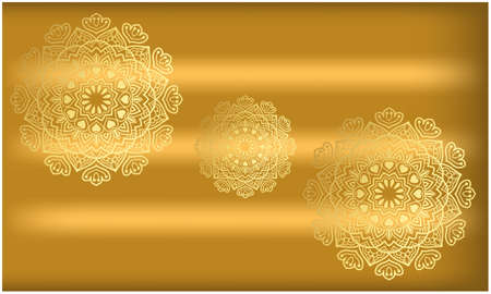 traditional art on gold background in circles