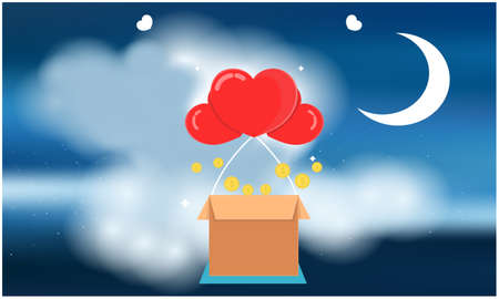 hearts are flying out of the box in the sky