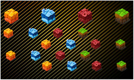 digital textile design of rainbow boxes on abstract background