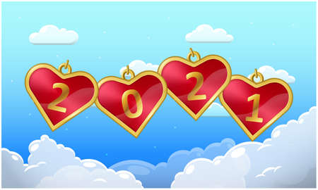 hearts are flying in the sky on new year
