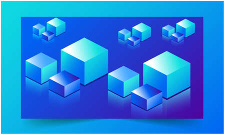 different types of cubes are placed on blue ice background
