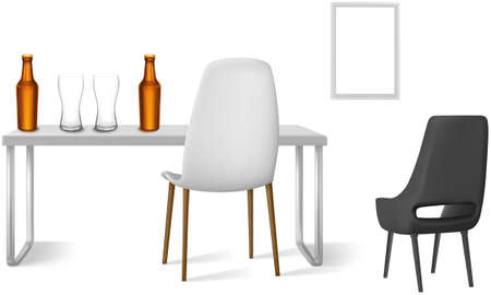 beer glasses and bottle on a table with chairs beside