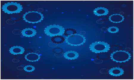 digital textile design of several gears on abstract blue backgrounds Illustration