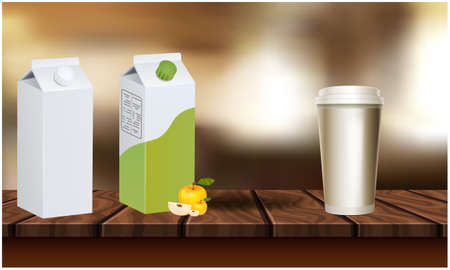 mock up illustration of juices and glass placed on table