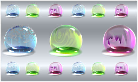 air and water bubbles of different colors on abstract background