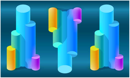 Set of lab Tubes on dark abstract background Illustration