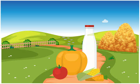 fresh and organic farm products are produced in a big farm Illustration