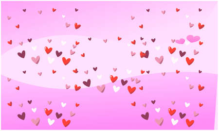 collection of several hearts on pink background