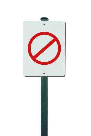 Metal traffic sign with warning symbol isolated photo