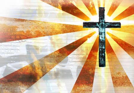 perdonar: Puesta de sol de fondo grabada con una cruz de metal grunge Foto de archivo