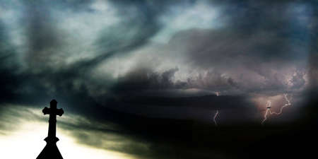 Background of a Cross in Front of Storm Clouds and Lightning Stock Photo - 5353927