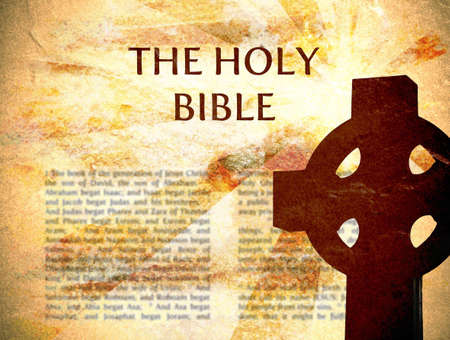 Bible Background with cross and grungy texture Stock Photo - 5431648