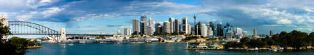 sydney harbour bridge: A Panorama of Sydney CBD during the day