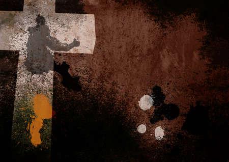grunge cross: Dark Brown Grunge Christian Croce Background