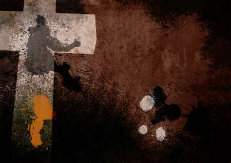 grunge cross: Dark Brown Grunge Christian Cross Background Stock Photo